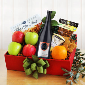 Organic Fruit and Wine Gift Basket