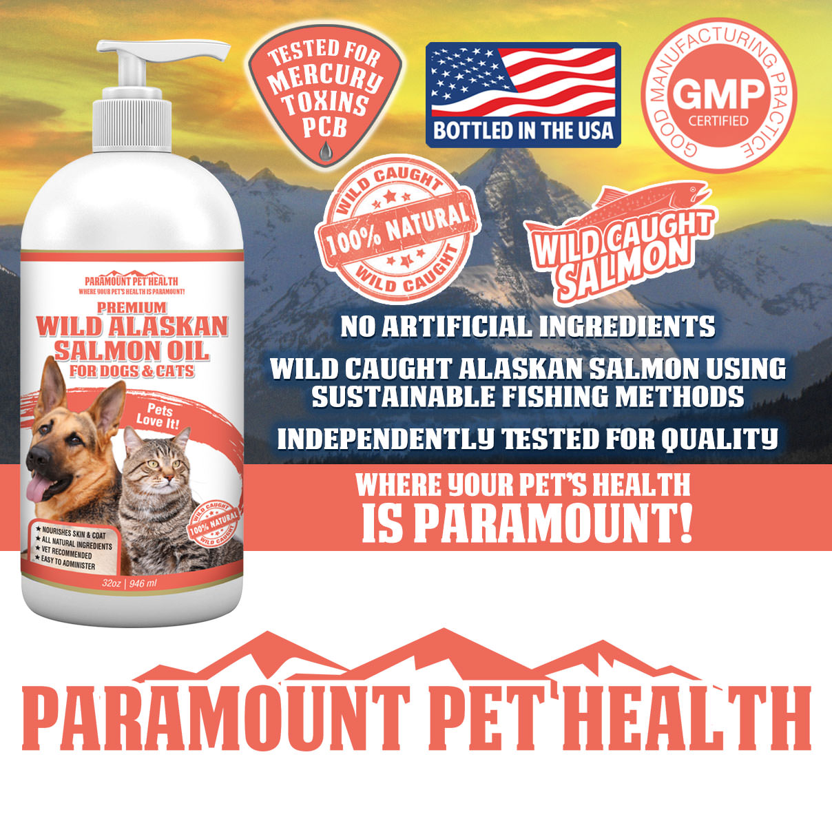 Wild Alaskan Salmon Oil for Dogs and Cats Mercury Tested
