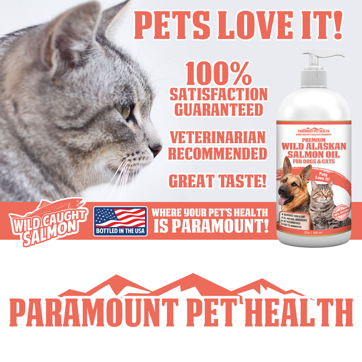 Pets Love Wild Alaskan Salmon Oil for Dogs and Cats