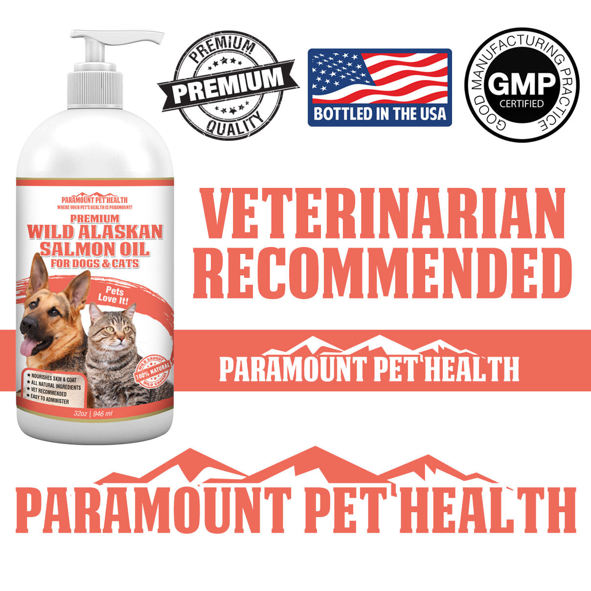 Wild Alaskan Salmon Oil for Dogs and Cats Vet Recommended