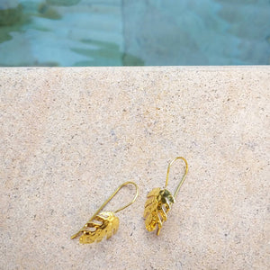 Monstera 18k Gold-Plated Brass Earrings