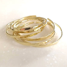 Load image into Gallery viewer, ISLA Hammered Bangles, Adjustable, 18K Gold-Plated Brass