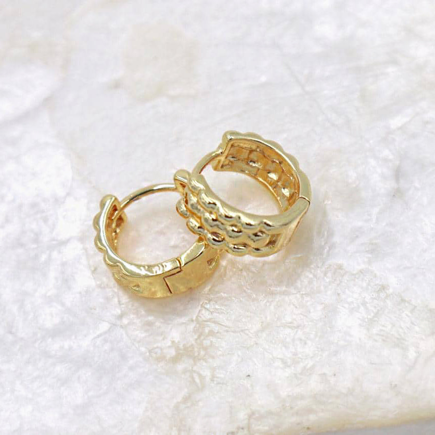 Bubble Hoop Studs, 18K Gold-Plated Brass