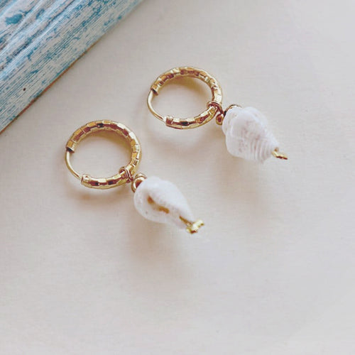 Mini Cone Shell  Earrings, 18K Gold-Plated Stainless Steel Hoops