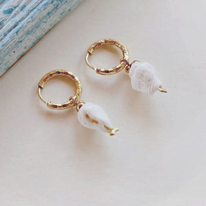 ISLA Mini Cone Shell  Earrings, 18K Gold-Plated Stainless Steel Hoops