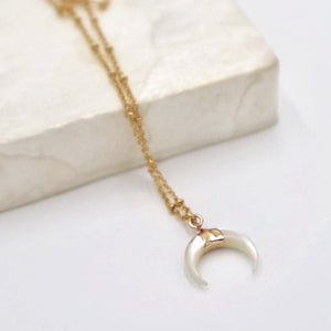 """Pearly Shell"" Moon Necklace, 18K Gold-Plated Stainless Steel Chain"