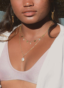 """Lualhati""  Necklace, 18K Gold-Plated Stainless Steel, 17 inch"