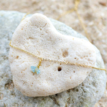 "Load image into Gallery viewer, ""Mar"" Raw Apatite Stone Necklace, 18K Gold Plated Stainless Steel Chain, 16 inch"