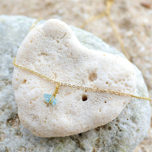 """Mar"" Raw Apatite Stone Necklace, 18K Gold Plated Stainless Steel Chain, 16 inch"