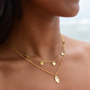 """Luna"" Cycles Of Life Necklace, 18K Gold-Plated Stainless Steel, 16 inch"