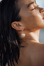 Load image into Gallery viewer, ISLA Gold Cascara Shell Earrings, 18K Gold-Plated Stainless Steel Hoops