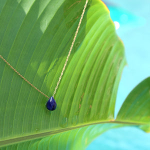 """Mar"" Lapis Lazuli Necklace, 18K Gold-Plated Stainless Steel Chain, 16 inch"