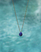 "Load image into Gallery viewer, ""Mar"" Lapis Lazuli Necklace, 18K Gold-Plated Stainless Steel Chain, 16 inch"