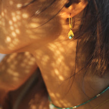 "Load image into Gallery viewer, Larimar ""Wisdom Of The Sea"" Earrings, 18k Gold-Plated Brass Earrings"