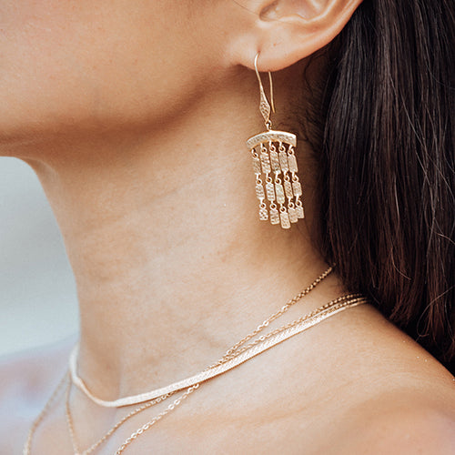 Hammered Brass Fringe Earrings, 18K Gold-Plated