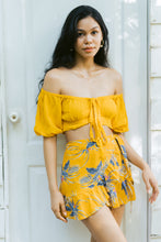 "Load image into Gallery viewer, ""Carmelita"" Front Tie Crop Top & Wrap Around Skirt, Tropical Sunshine Print"