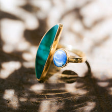 Load image into Gallery viewer, ISLA Sodalite Stone Ring & Colored Glass, Adjustable 18K Gold Plated Brass