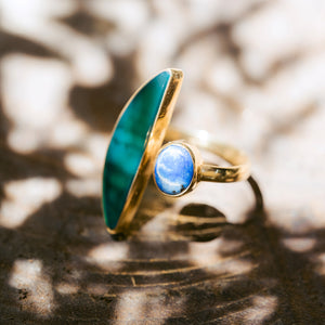 ISLA Sodalite Stone Ring & Colored Glass, Adjustable 18K Gold Plated Brass