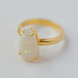 """Rainbow Goddess"" Opal Ring, 14k Solid Gold (1 Piece Only)"