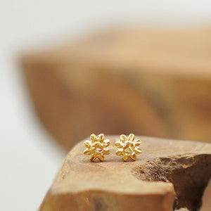 """Sol"" Mini Beach-Proof Earrings, 18K Gold-Plated Stainless Steel Studs"