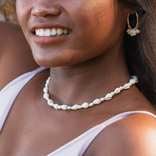 "Load image into Gallery viewer, ""Mutya"" Mini Cone Shell & Mini Baroque Pearl Choker Necklace, 14 inch"