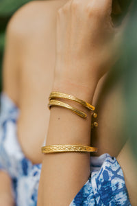 """Julia"" Aztec Bangles, 18K Gold Plated Zinc Alloy"