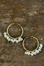 "Load image into Gallery viewer, ""Julia"" Baroque Pearls Chandelier Earrings, 18K Gold Plated Stainless Steel Hoops"