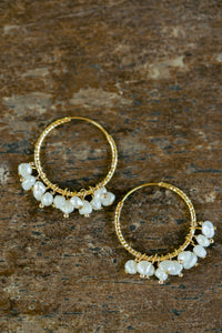 """Julia"" Baroque Pearls Chandelier Earrings, 18K Gold Plated Stainless Steel Hoops"