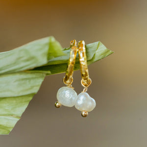 """Joie"" Mini Baroque Pearl Earrings, 18K Gold Plated Stainless Steel Mini Hoops"