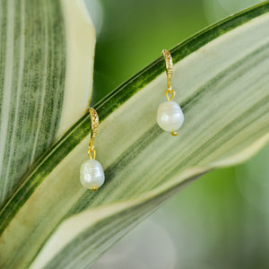 """Venus"" Baroque Pearl Earrings, 18K Gold Plated Brass Hooks"