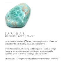 "Load image into Gallery viewer, Larimar ""Wisdom Of The Sea"" 18k Gold-Plated Brass Earrings"