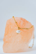 "Load image into Gallery viewer, ""Joie"" Mini Baroque Pearl Necklace, 18K Gold Plated Stainless Steel Chain, 17 inch"