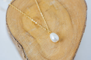 """Venus"" Classic Baroque Pearl Necklace, 18K Gold Plated Stainless Steel Chain, 19 inch"
