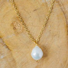 "Load image into Gallery viewer, ""Venus"" Classic Baroque Pearl Necklace, 18K Gold Plated Stainless Steel Chain, 19 inch"