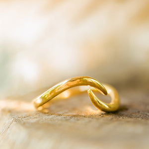 """Mar"" Adjustable Stacking Wave Ring, 18k Gold Plated Brass"