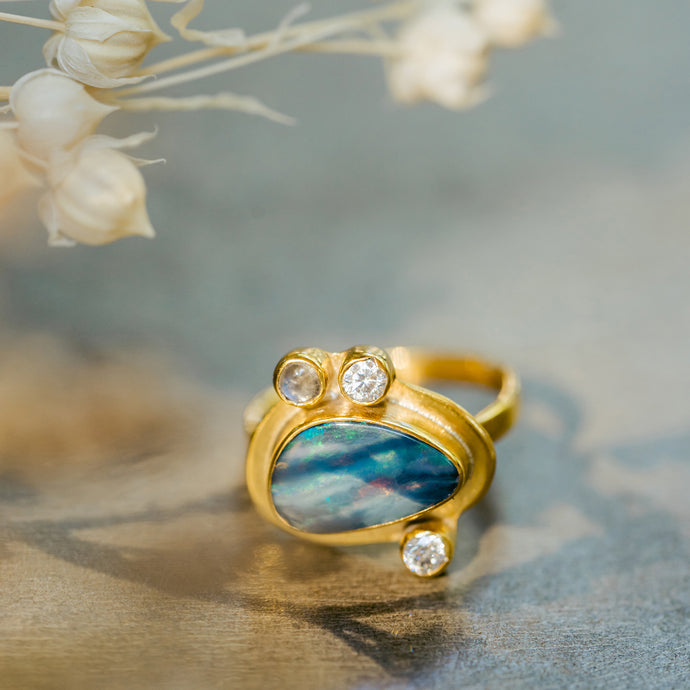 ISLA Blue Opal Ring, 18K Gold Plated Brass