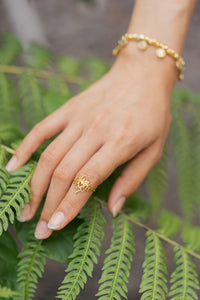 """Kamala"" Lotus Ring, 18K Gold Plated Brass"