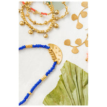 "Load image into Gallery viewer, ""We Are the Moon & Stars"" Beaded Necklace, 18k Gold Plated 925 Silver"