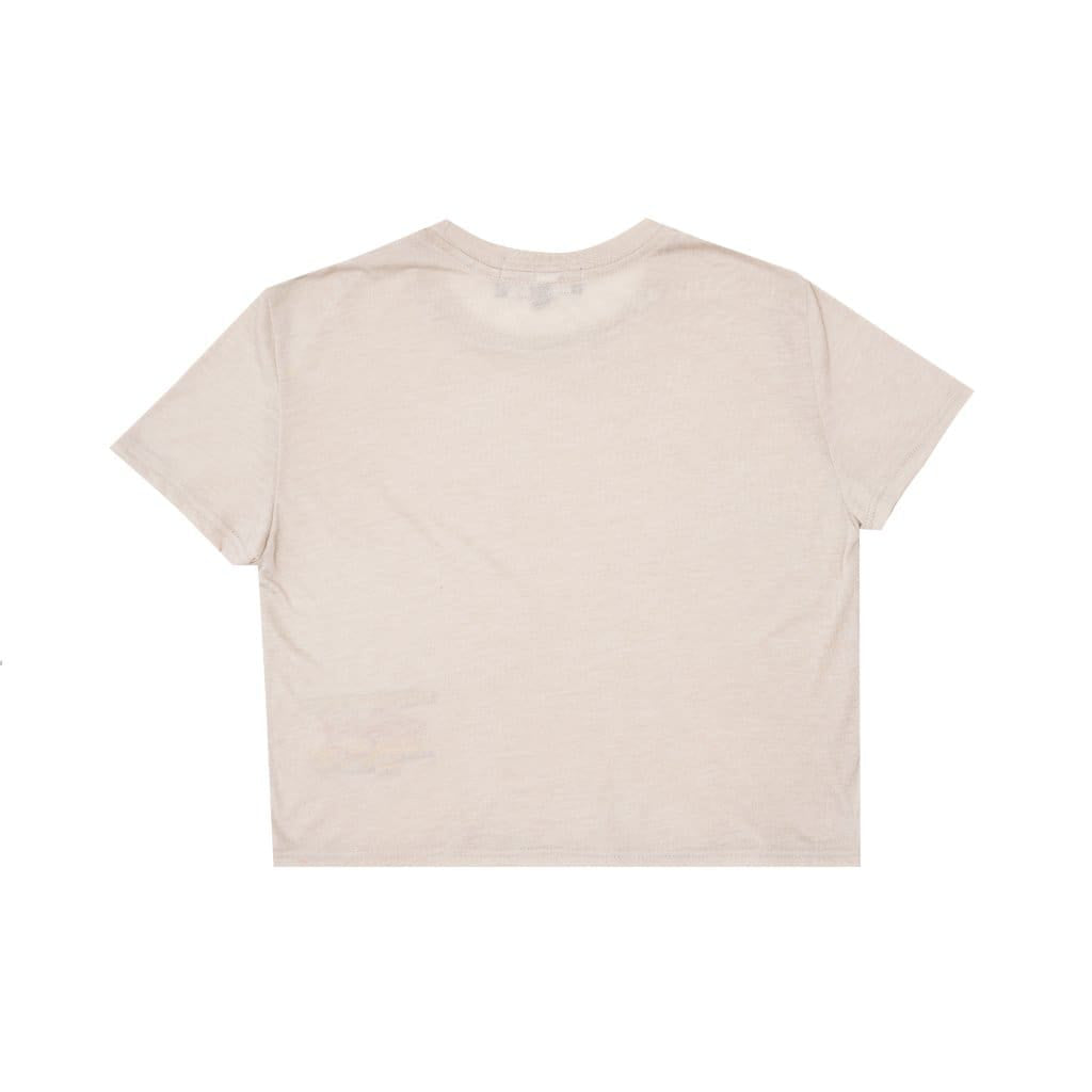 BEIGE RACING CROP T-SHIRT