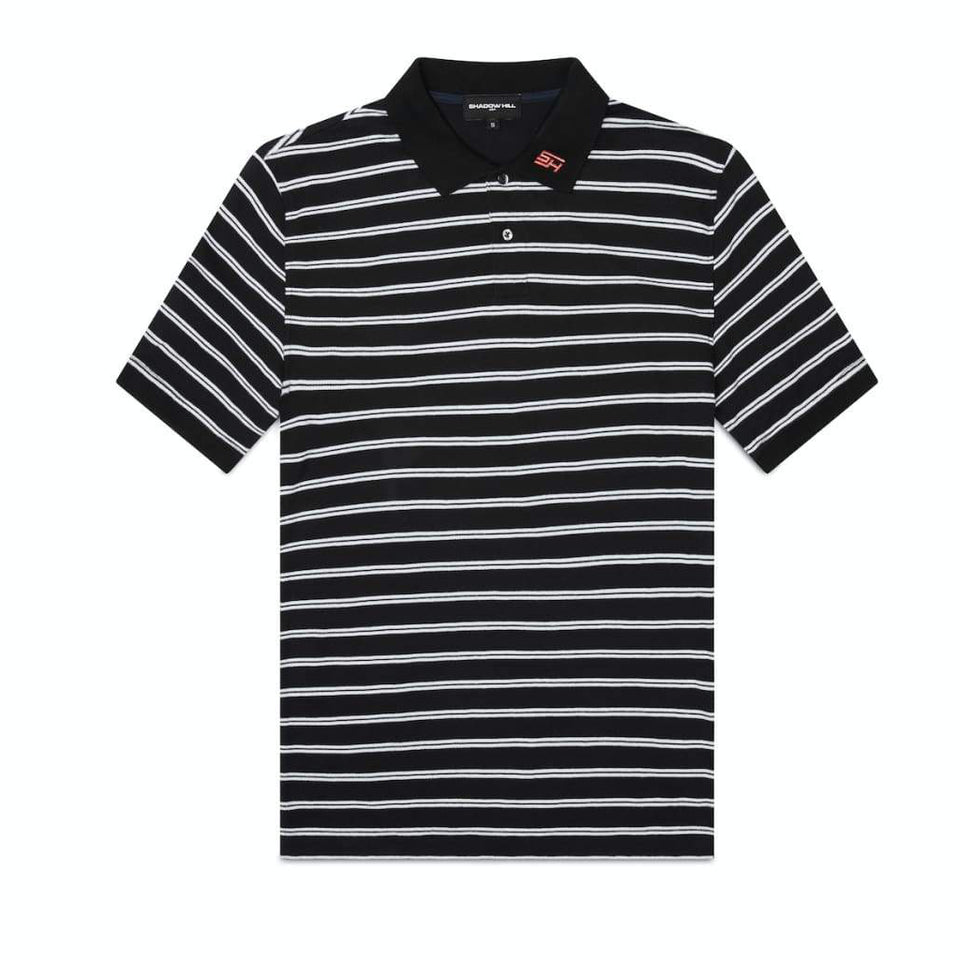 BLACK STRIPED POLO