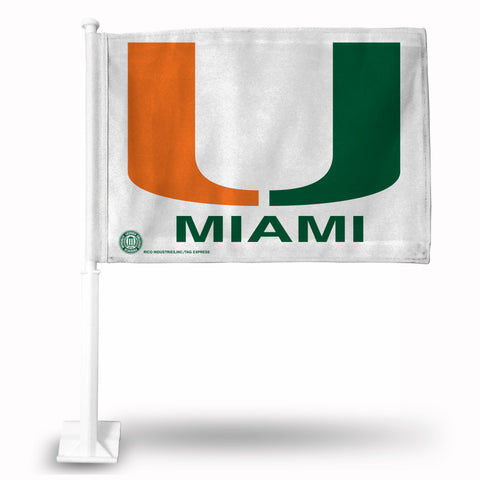 MIAMI HURRICANES LOGO CAR FLAG  WHITE BKG