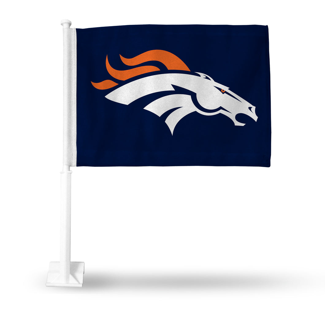 BRONCOS HORSE HEAD ON NAVY CAR FLAG