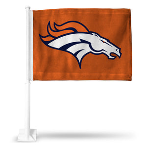 BRONCOS HORSE HEAD ON ORANGE CAR FLAG