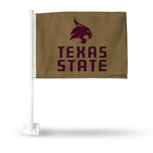 TEXAS STATE BOBCATS GOLD CAR FLAG WITH PRIMARY LOGO CAR FLAG