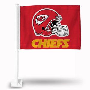 KC CHIEFS HELMET ON RED BACKGROUND CAR FLAG