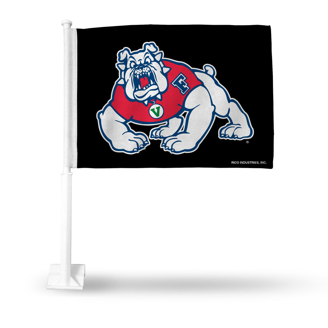 FRESNO STATE CAR FLAG- BLACK BACKGROUND
