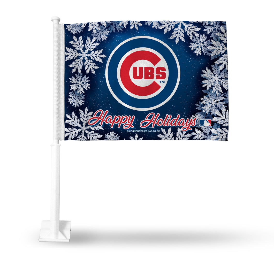 CUBS HOLIDAY THEMED CAR FLAG