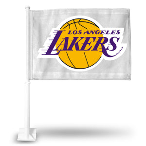 LOS ANGELES LAKERS WHITE CAR FLAG