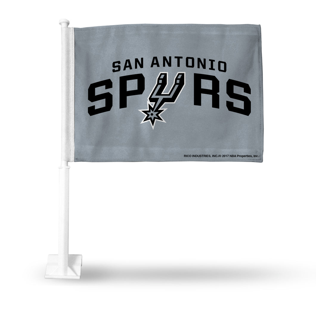 SPURS CAR FLAG SILVER BKG