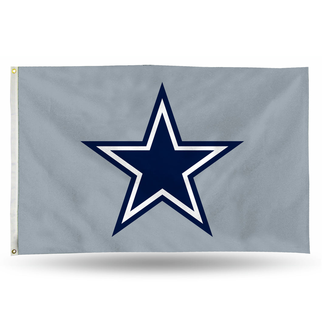 DALLAS COWBOYS BANNER FLAG (3X5) - SILVER BACKGROUND W/STAR